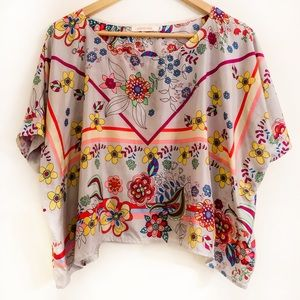 Johnny Was Top Silk Floral Colorful Short Sleeve